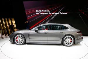 The new Porsche Panamera Turbo Sport Turismo is seen during the 87th International Motor Show at Palexpo in Geneva, Switzerland, March 7, 2017. REUTERS/Arnd Wiegmann