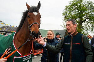 Jockey Davy Russell with Tiger Roll as the winner of the 2019 Randox Health Aintree Grand National is led through the village of Summerhill in Co Meath. Photo by Harry Murphy/Sportsfile