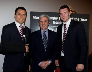 Enjoying the Munster Rugby Awards sponsored by the Irish Independent pictured from left, Doug Howlett, Dan O'Sullivan and Peter O'Mahony. Photo: Mark Condren