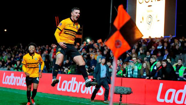 Padraig Amond celebrates after scoring the winner for Newport County against Leicester City in the FA Cup third round. Photo: Nick Potts/PA Wire