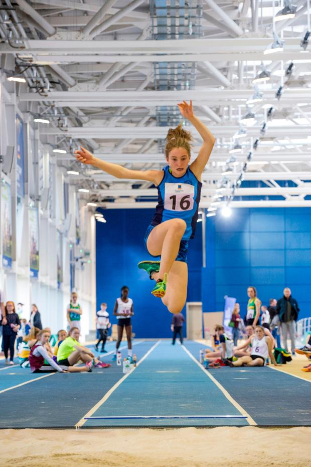 Hannah Moriarty (12), of Lucan, Dublin, in the long-jump event. Photo: Doug O'Connor
