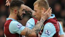 Burnley goalscorers Scott Arfield (R) and Danny Ings celebrate their 2-1 victory over QPR