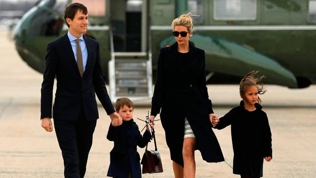 U.S. President Donald Trump's daughter Ivanka Trump (2nd R) and her family, husband Jared Kushner (from L) and children Joseph and Arabella Kushner, arrive aboard the Marine One helicopter with the president to board Air Force One for travel to Florida from Joint Base Andrews, Maryland, U.S. March 3, 2017. REUTERS/Jonathan Ernst