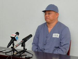 Kenneth Bae, a Korean-American Christian missionary who has been detained in North Korea for more than a year, meets a limited number of media outlets in Pyongyang, in this photo taken by Kyodo January 20, 2014. U.S. missionary Kenneth Bae, imprisoned in reclusive North Korea for more than a year, said on Monday he wants to return to his family as soon as possible and hopes the United States will help, Japan's Kyodo news agency reported. Mandatory credit   REUTERS/Kyodo (NORTH KOREA - Tags: POLITICS)  ATTENTION EDITORS - FOR EDITORIAL USE ONLY. NOT FOR SALE FOR MARKETING OR ADVERTISING CAMPAIGNS. THIS IMAGE HAS BEEN SUPPLIED BY A THIRD PARTY. IT IS DISTRIBUTED, EXACTLY AS RECEIVED BY REUTERS, AS A SERVICE TO CLIENTS. MANDATORY CREDIT. JAPAN OUT. NO COMMERCIAL OR EDITORIAL SALES IN JAPAN