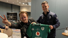 U2 frontman Bono is pictured with Ireland captain Johnny Sexton during a visit to the Irish squad ahead of Sunday's Six Nations clash with England