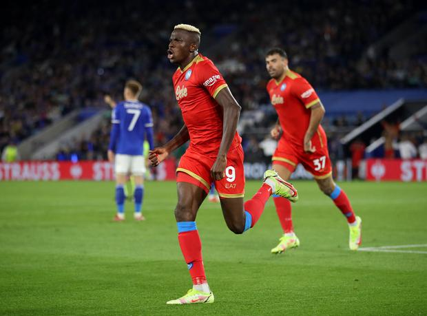 Napoli's Victor Osimhen celebrates scoring their second goal in the Europa League Group C draw with Leicester City at the King Power Stadium, Leicester