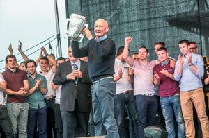 7/9/2015: Brian Cody brings the Liam McCarthy Cup onstage during the homecoming for the Kilkenny team. Photo: Pat Moore.