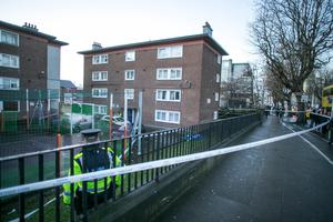 The scene of the fatal shooting of Jason Molyneaux in James Larkin House Flats, North Strand
