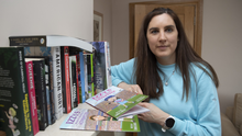 Emma Larkin from Gortacloghane, Listowel, pictured at her home with some of her books. She is urging people to get involved with Ireland Reads, which aims to get the nation reading during lock-down. Photo by Domnick Walsh