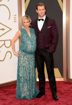Actors Elsa Pataky (L) and Chris Hemsworth attend the Oscars held at Hollywood & Highland Center on March 2, 2014 in Hollywood, California.  (Photo by Jason Merritt/Getty Images)