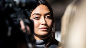 Fighting back: Model Ambra Battilana Gutierrez – the first woman to report Weinstein to the police – after yesterday's verdict. Photo: REUTERS/Jeenah Moon