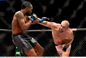 Pendred, right, in action against Sean Spencer