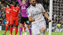Liverpool players appeal in vain for offside after Karim Benzema scores to give Real Madrid a 1-0 lead in their Champions League clash at the Bernabeu. Photo: John Powell/Liverpool FC via Getty Images