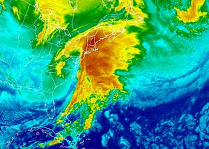 Clouds cover the U.S. Northeast in this infrared National Oceanic and Atmospheric Administration (NOAA) Geostationary Satellite Server (GOES) East satellite image