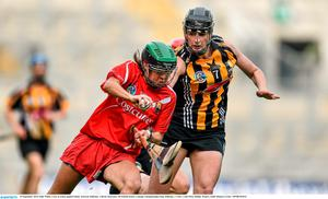 14 September 2014; Julia White, Cork, in action against Elaine Aylward, Kilkenny. Liberty Insurance All Ireland Senior Camogie Championship Final, Kilkenny v Cork, Croke Park, Dublin. Picture credit: Ramsey Cardy / SPORTSFILE