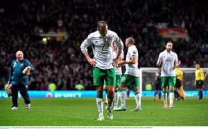 A dejected Aiden McGeady, Republic of Ireland, at the end of the game. UEFA EURO 2016 Championship Qualifier, Group D, Scotland v Republic of Ireland, Celtic Park, Glasgow, Scotland. Picture credit: David Maher / SPORTSFILE