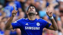 Chelsea's Diego Costa celebrates scoring his sides second goal during the Barclays Premier League match at Stamford Bridge