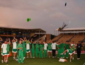 17 March 2007; The Ireland team celebrate victory over Pakistan. ICC Cricket World Cup, Group D, Ireland v Pakistan, Sabina Park, Kingston, Jamaica. Picture credit: Pat Murphy / SPORTSFILE