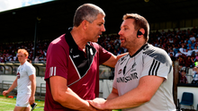 Galway boss Kevin Walsh shakes hands with Cian O'Neill. Photo by Sam Barnes/Sportsfile