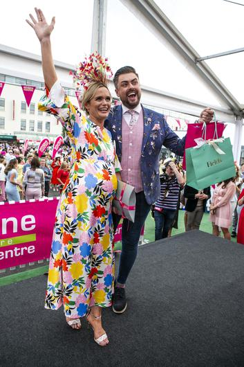 Winner of the Friday's Most Styliish, Aine Malone, from Edenderry Co Offaly pictured with Judge Jame Patrice  at the Galway Races in Ballybrit.