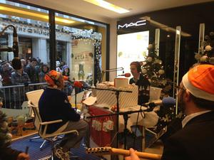 Larry Gogan and Ryan Tubridy pictured at RTE 2FM Christmas Broadcast in 2013