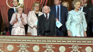 President of Ireland Michael D Higgins and his Wife Sabina with Prince and Princess Michael of Kent being welcomed at a Celebration of British and Irish Culture Concert in the Royal Albert Hall in London