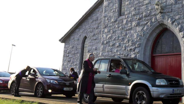 Ash Wednesday drive-thru at St Patrick's Church Glenmdaddy. Pic: Facebook