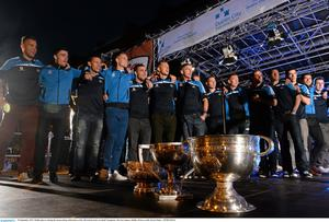 Dublin players during the homecoming celebrations of the All-Ireland Senior Football Champions