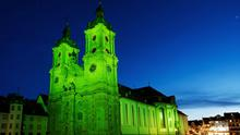17/03/2020, St Gallen Cathedral in the city of St Gallen in Switzerland, joins Tourism Ireland's Global Greening, to celebrate the island of Ireland and St Patrick. Pic – Foto Lautenschlager GmbH