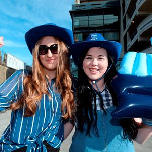 Dublin fans Laura Carroll, 16, and Hannah Browne, right, 16, from Coolock
