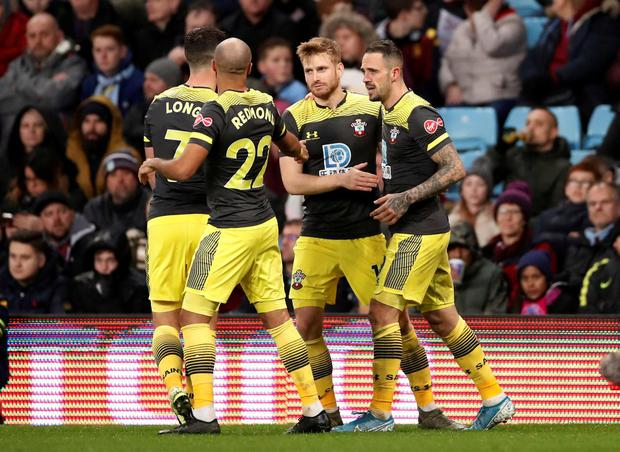 Southampton's Danny Ings celebrates scoring their third goal with teammates. Photo: Andrew Boyers/Action Images via Reuters