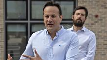 Leo Varadkar and Housing Minister Eoghan Murphy at a Covid-19 response hub in Dublin yesterday. Photo: Colin Keegan/Collins