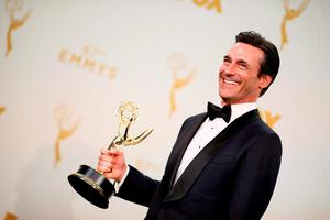 Actor Jon Hamm, winner of the award for Outstanding Lead Actor in a Drama Series for 'Mad Men', poses in the press room at the 67th Annual Primetime Emmy Awards at Microsoft Theater