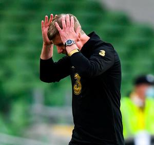 New Ireland manager Stephen Kenny reacts as his side falls behind last night. Photo: Sportsfile