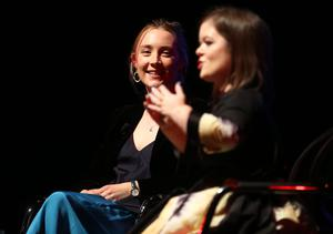Saoirse Ronan and Sinead Burke pictured at the Feminists Don't Wear Pink podcast event in the O'Reilly Theatre. Picture: Gerry Mooney
