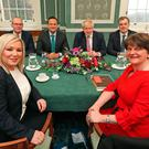 Arlene Foster of the DUP (front right), deputy First Minister Michelle O'Neill (front left) of Sinn Fein, sit around the table with Tanaiste, Simon Coveney (back left), Taoiseach, Leo Varadkar (back centre left), UK Prime Minister, Boris Johnson (back centre right), and Secretary of State for Northern Ireland, Julian Smith. Photo: PA Wire