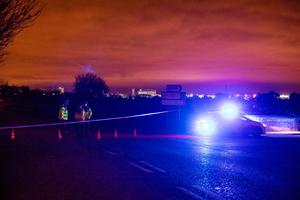 Gardaí attend a road traffic accident on the Adamstown road between Newcastle and Lucan in Dublin. Photo: Arthur Carron