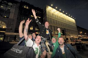 (on shoulders)  Barry Mitchell from Lusk, Dublin with friends from Lusk in Glasgow for tonights European qualifier with Scotland. Pic:Mark Condren 14.11.2014