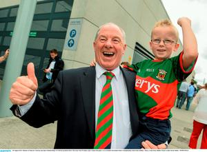 30 August 2015; Minister of State for Tourism and Sport Michael Ring T.D with his grandson Rory McGreal, from Westport, age 6, before the game. GAA Football All-Ireland Senior Championship, Semi-Final, Dublin v Mayo, Croke Park, Dublin. Picture credit: David Maher / SPORTSFILE