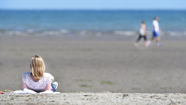 Dollymount Strand during the warm weather. Pic Steve Humphreys