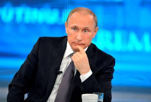 Russian President Vladimir Putin takes part in a live broadcast nationwide call-in in Moscow. Photo: Reuters