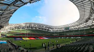 A general view of the Aviva Stadium which is due to host three Euro 2020 games this summer. Photo credit: Brian Lawless/PA Wire.
