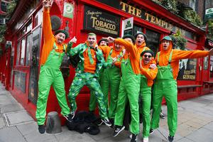 17/03/20 St Patrick's Day scenes in Temple bar Dublin this afternoon. Photo Stephen Collins/Collins Photos
