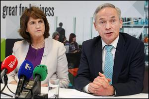 Minister for Jobs, Enterprise and Innovation Richard Bruton and Tanaiste and Minister for Social Protection Joan Burton. Picture: Steve Humphreys