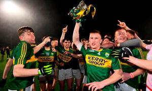 Brian Sugrue of Kerry celebrates with his team-mates after the EirGrid Munster GAA Football U21 Championship Final match between Cork and Kerry at Páirc Ui Rinn in Cork. Photo by Stephen McCarthy/Sportsfile