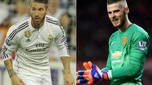 Manchester United's pursuit of Sergio Ramos (left) could bump up David De Gea's price