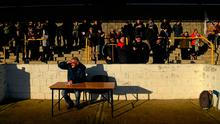Vincent Hogan of the Irish Independent in the press box at Freshford. Photo by Ray McManus/Sportsfile