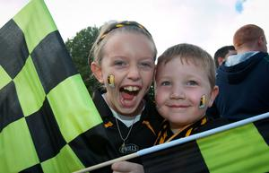 Katie Graham 9 & Connor Buggy 6 all from Kilkenny  at the All Ireland Hurling Final between Kilkenny & Tipperary at Croke Park, Dublin. Photo:  Gareth Chaney Collins