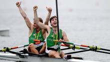 FAMOUS DAY: Paul and Gary O'Donovan celebrate after finishing second in the Men's Lightweight Double Sculls A final during the 2016 Rio Olympic Games. Photo: Stephen McCarthy/Sportsfile