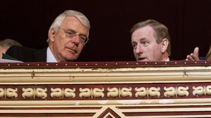 Former British Prime Minister John Major and Taoiseach Enda Kenny with a Celebration of British and Irish Culture Concert in the Royal Albert Hall in London on  the third official day of the Presidents 5 day State Visit to the United Kingdom. Photo: Fennell Photography